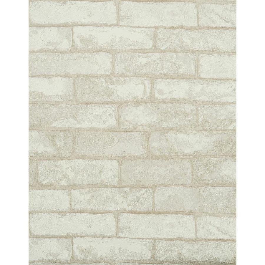 York Wallcoverings Modern Rustic Gray, Off-White, Brick and Stone Vinyl Textured Brick Wallpaper