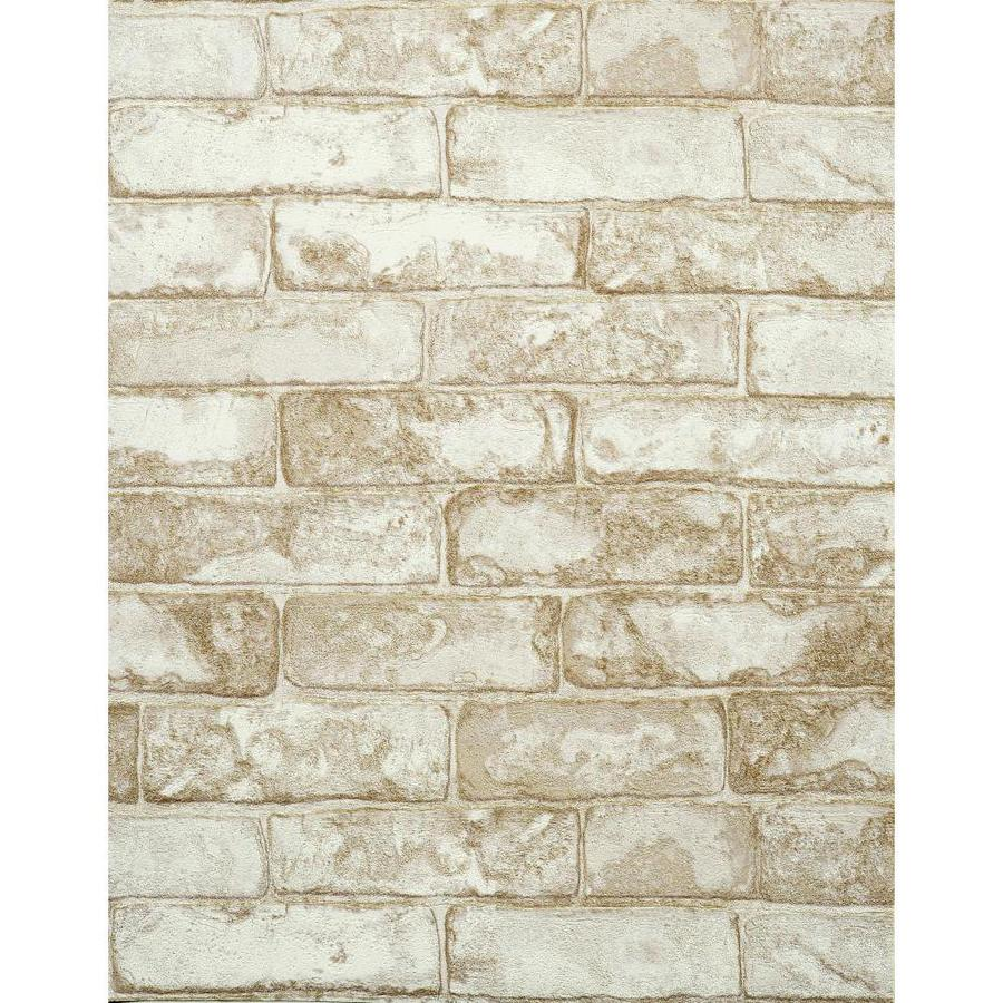 York Wallcoverings Light Gray, White, Stone and Brick Vinyl Wallpaper