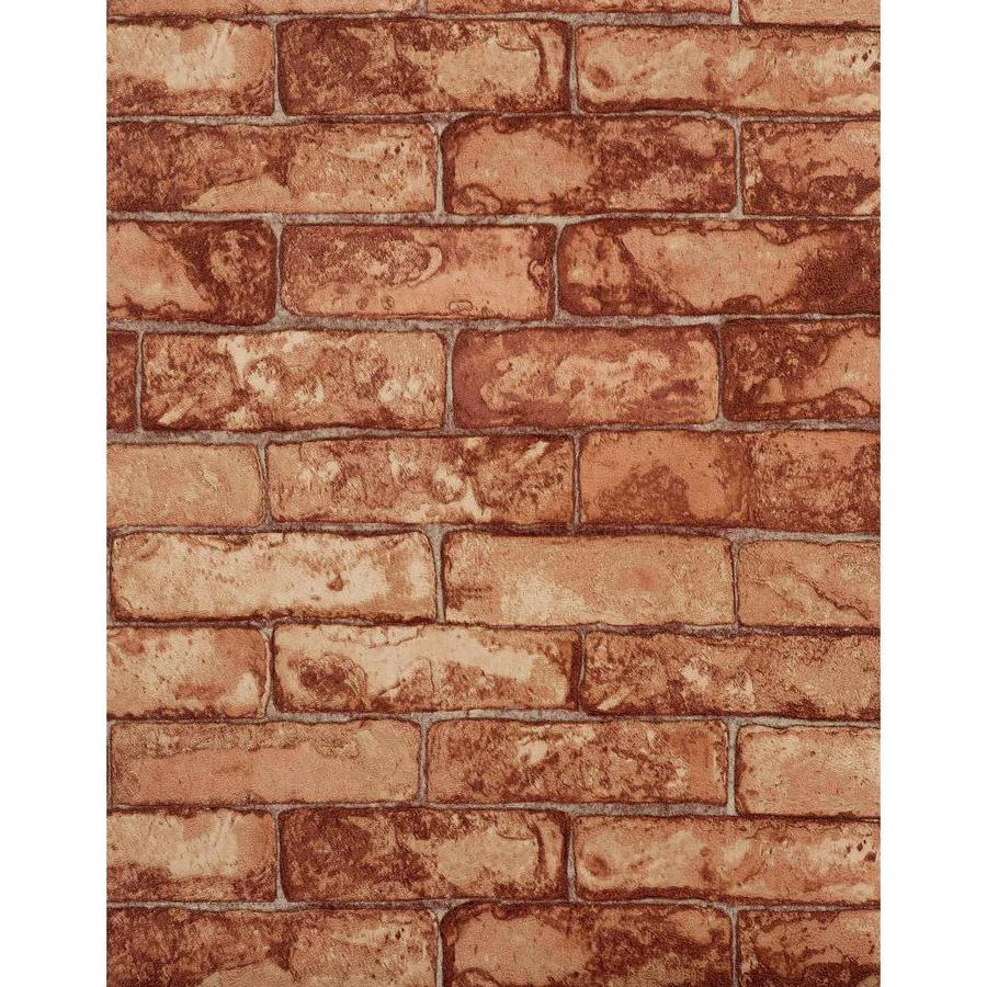 York Wallcoverings Modern Rustic Light Red, Burgundy, Stone and Brick Vinyl Textured Brick Wallpaper