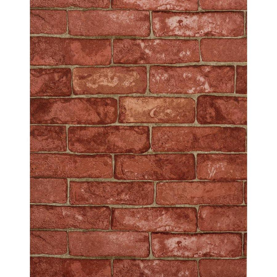 York Wallcoverings Modern Rustic Red, Cement Gray, Brick and Stone Vinyl Textured Brick Wallpaper
