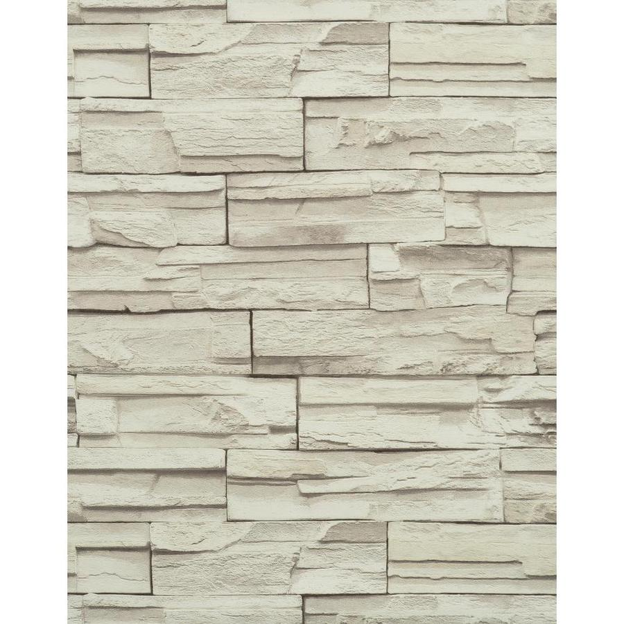 York Wallcoverings Modern Rustic Gray and Stone Vinyl Textured Stone Wallpaper