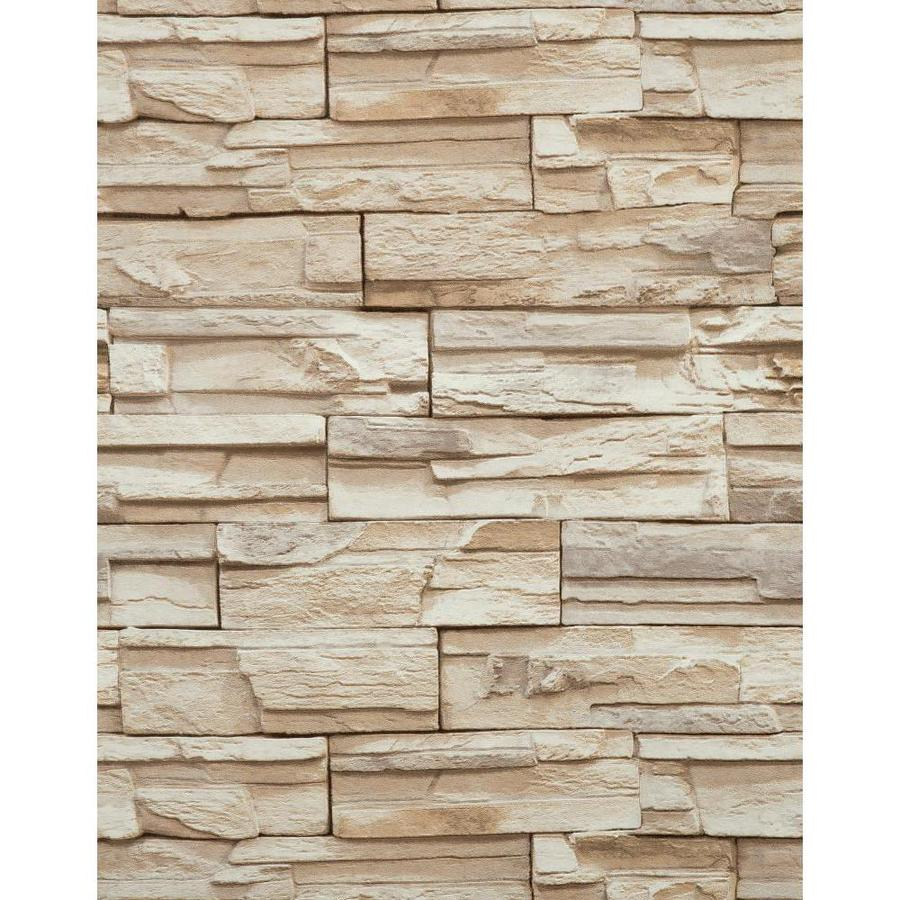 York Wallcoverings Modern Rustic Tan and Stone Vinyl Textured Stone Wallpaper