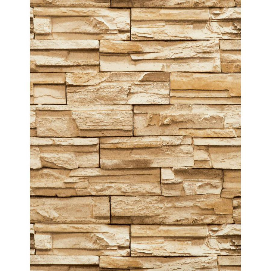 York Wallcoverings Modern Rustic Gold and Stone Vinyl Textured Stone Wallpaper