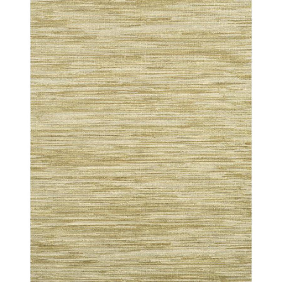 York Wallcoverings Modern Rustic Gold and Green Vinyl Textured Grasscloth Wallpaper