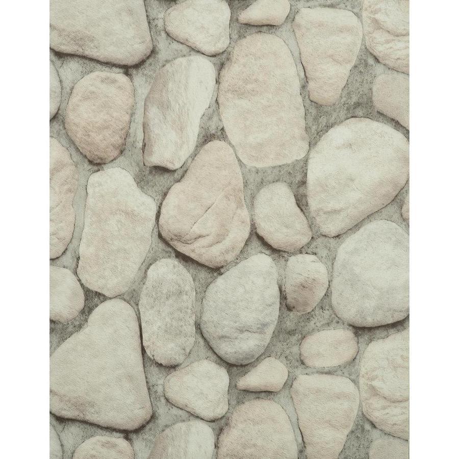 York Wallcoverings Light Gray, Dark Gray, Tan, Off-White, Rock and Stone Vinyl Wallpaper