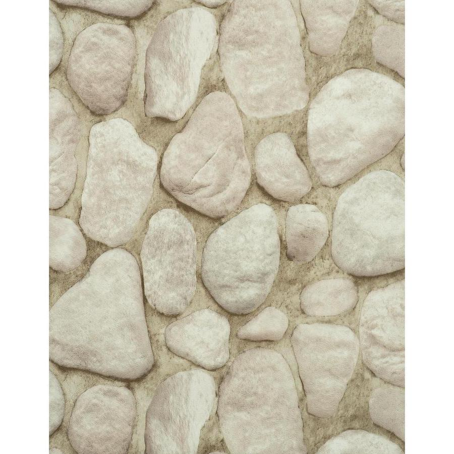 York Wallcoverings Modern Rustic Tan, Dark Olive Green, Off-White, Rock and Stone Vinyl Textured Abstract Wallpaper