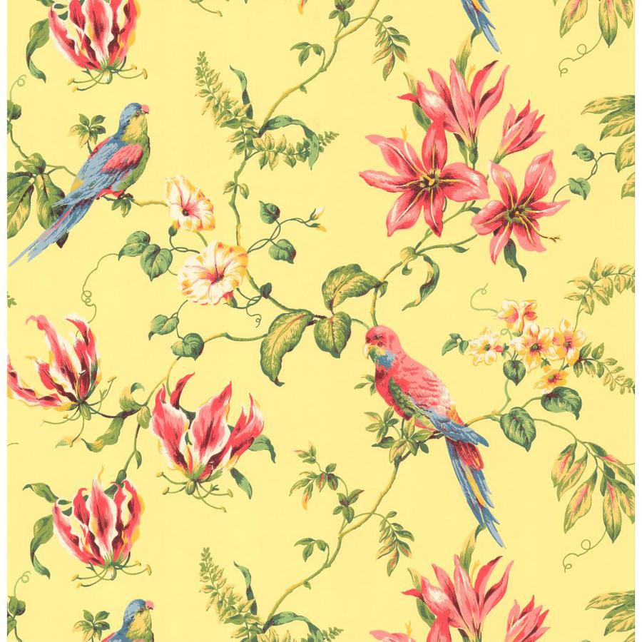 Inspired By Color Orange and Yellow Book Yellow, Pink and Green Paper Textured Birds Wallpaper