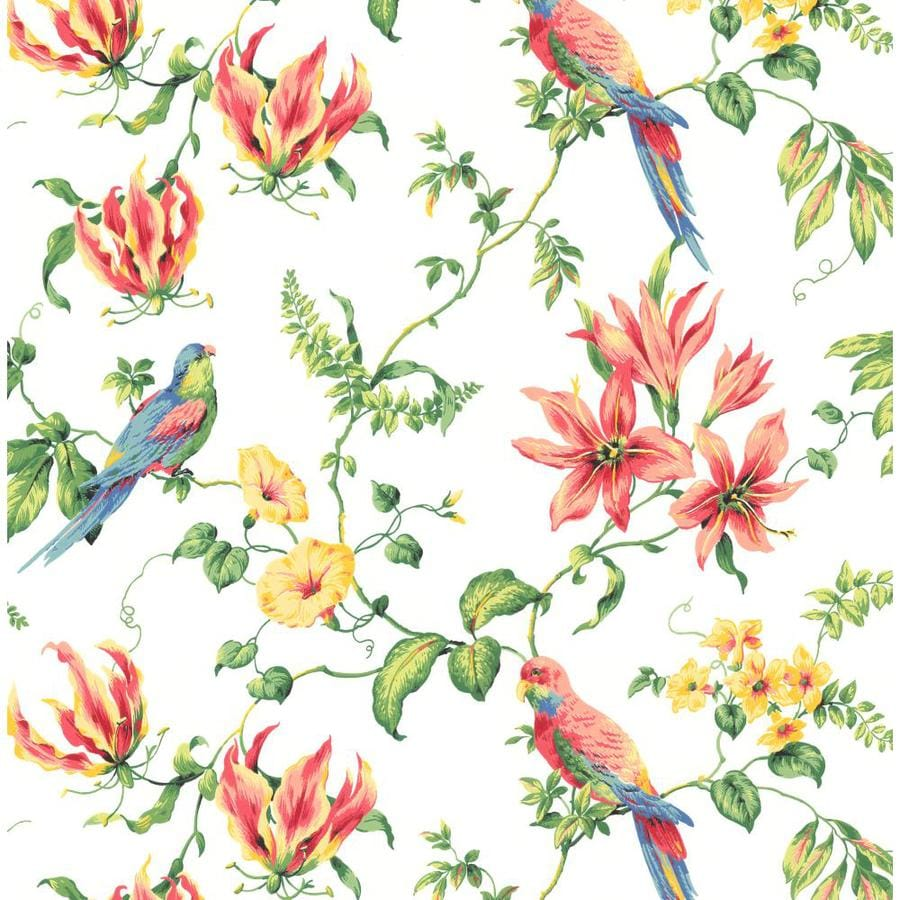 Inspired By Color Green Book Green, White, Red, Blue and Yellow Paper Textured Birds Wallpaper