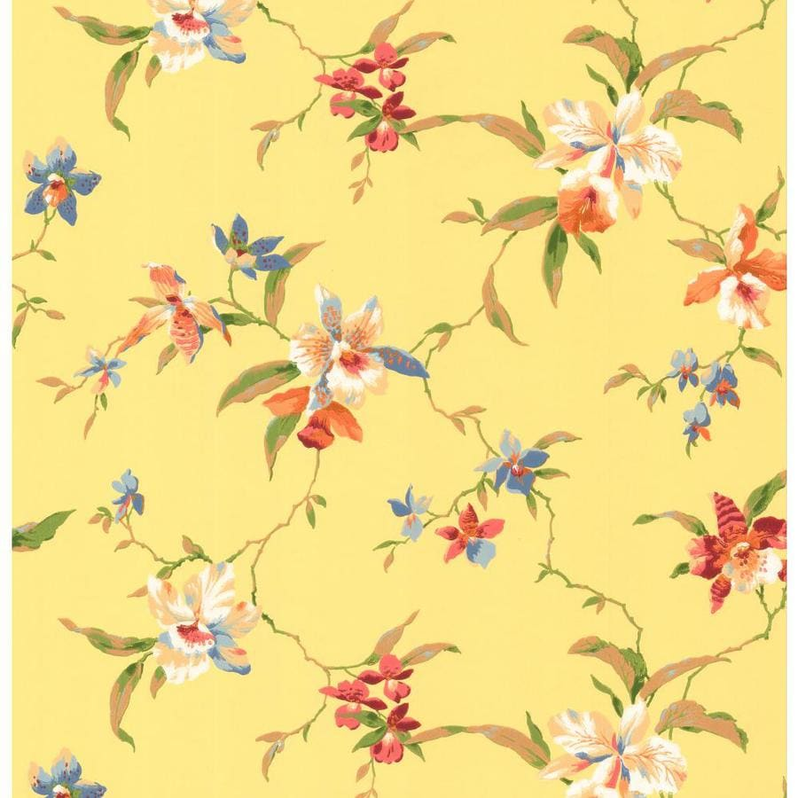 Inspired By Color Orange and Yellow Book Yellow, Red and Blue Paper Textured Floral Wallpaper