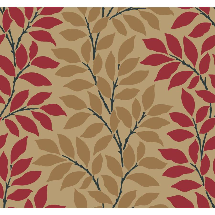 Inspired By Color Red Book Red and Tan Paper Ivy/Vines Wallpaper