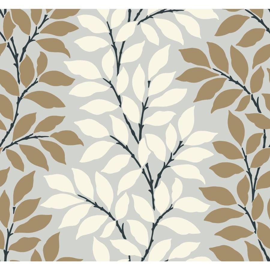Inspired By Color Metallics Book Brown, White and Blue Paper Ivy/Vines Wallpaper