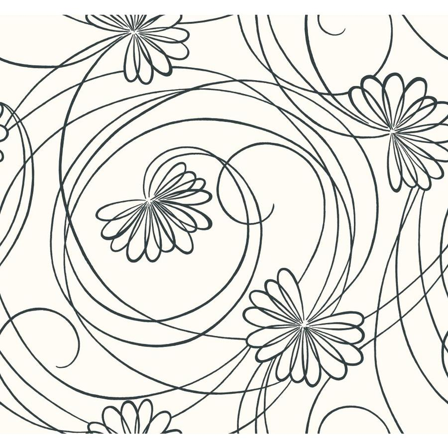 Inspired By Color Black and White Book Black and White Paper Floral Wallpaper