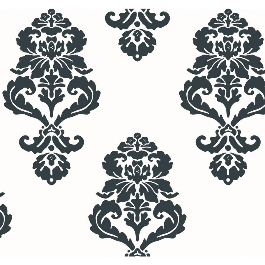 York Wallcoverings Black and White Book Black and White Paper Damask Wallpaper