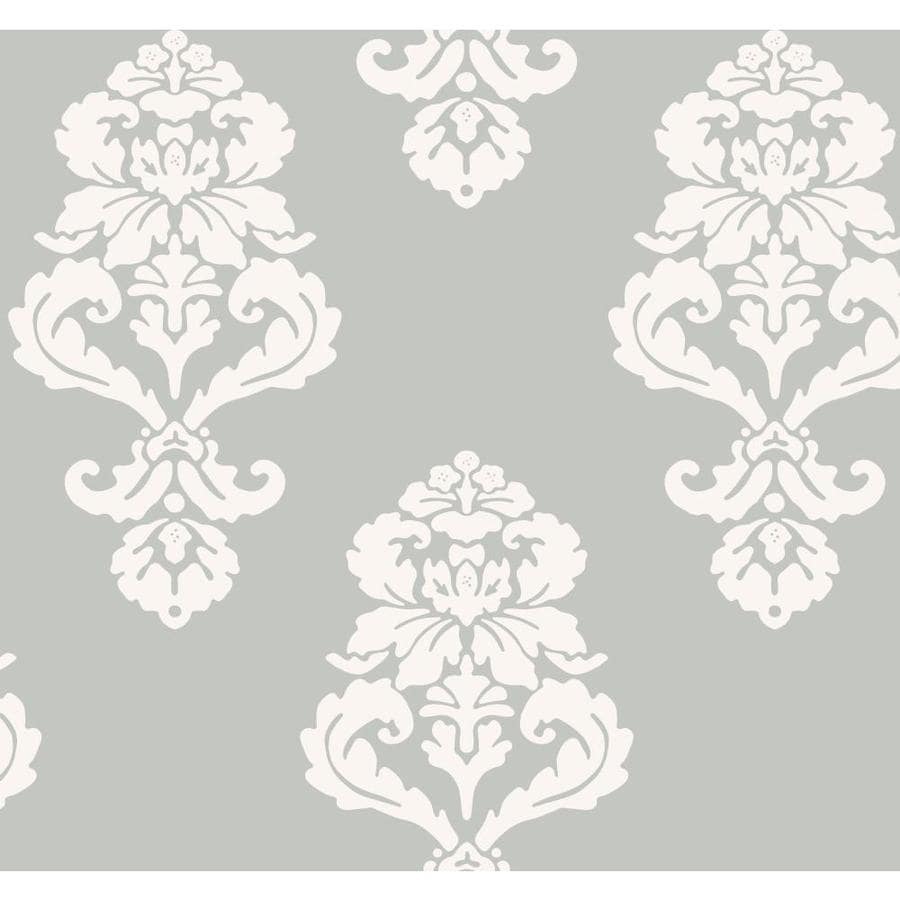 Inspired By Color Metallics Book Blue and White Paper Damask Wallpaper