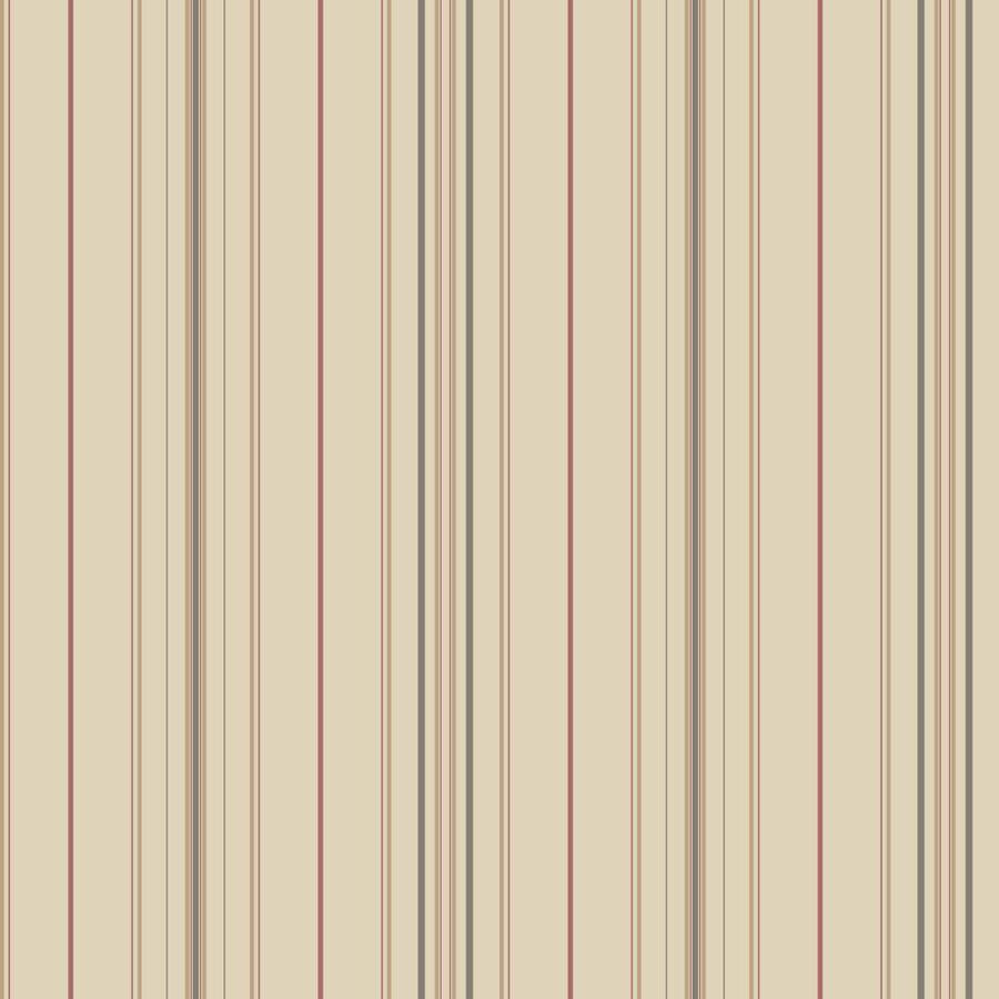 York Wallcoverings Ashford Stripes Red and Taupe Paper Stripes Wallpaper