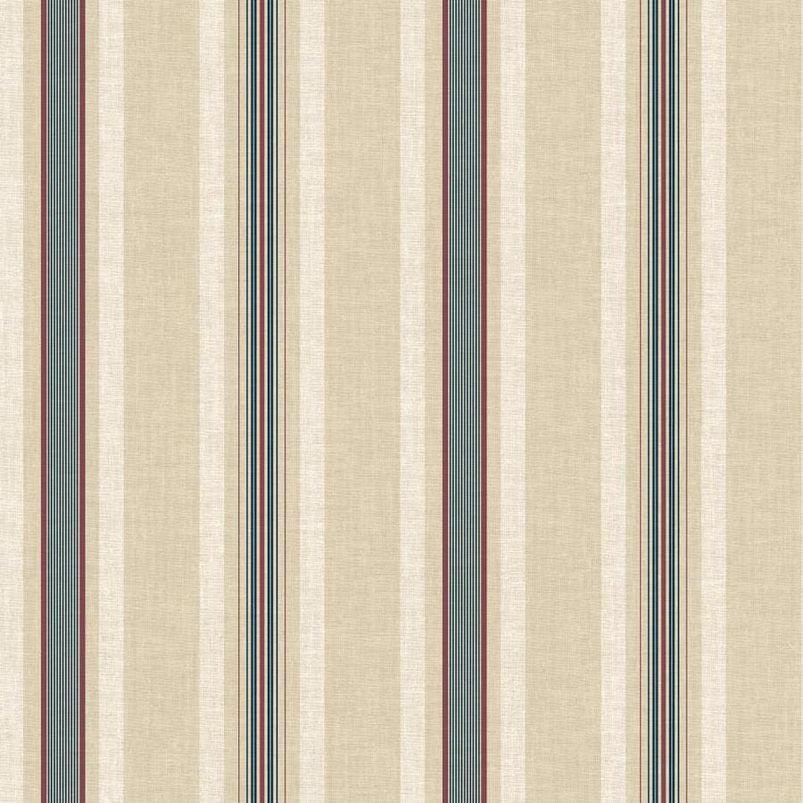 Inspired By Color Ashford Stripes Red, Cream and Blue Paper Stripes Wallpaper