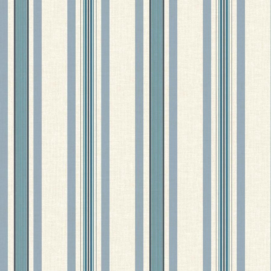 York Wallcoverings Ashford Stripes Blue and White Paper Stripes Wallpaper
