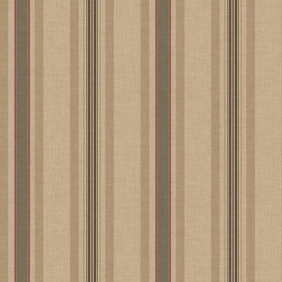 Inspired By Color Ashford Stripes Red, Besiege and Taupe Paper Stripes Wallpaper