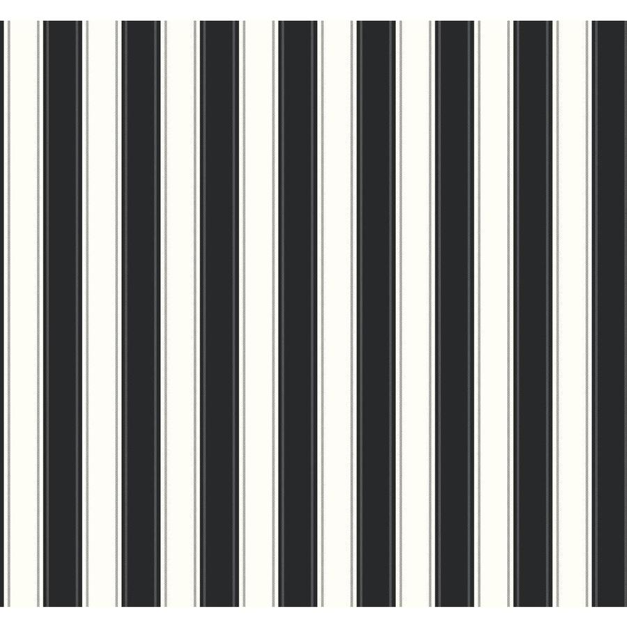 York Wallcoverings Ashford Stripes Black and White Paper Stripes Wallpaper