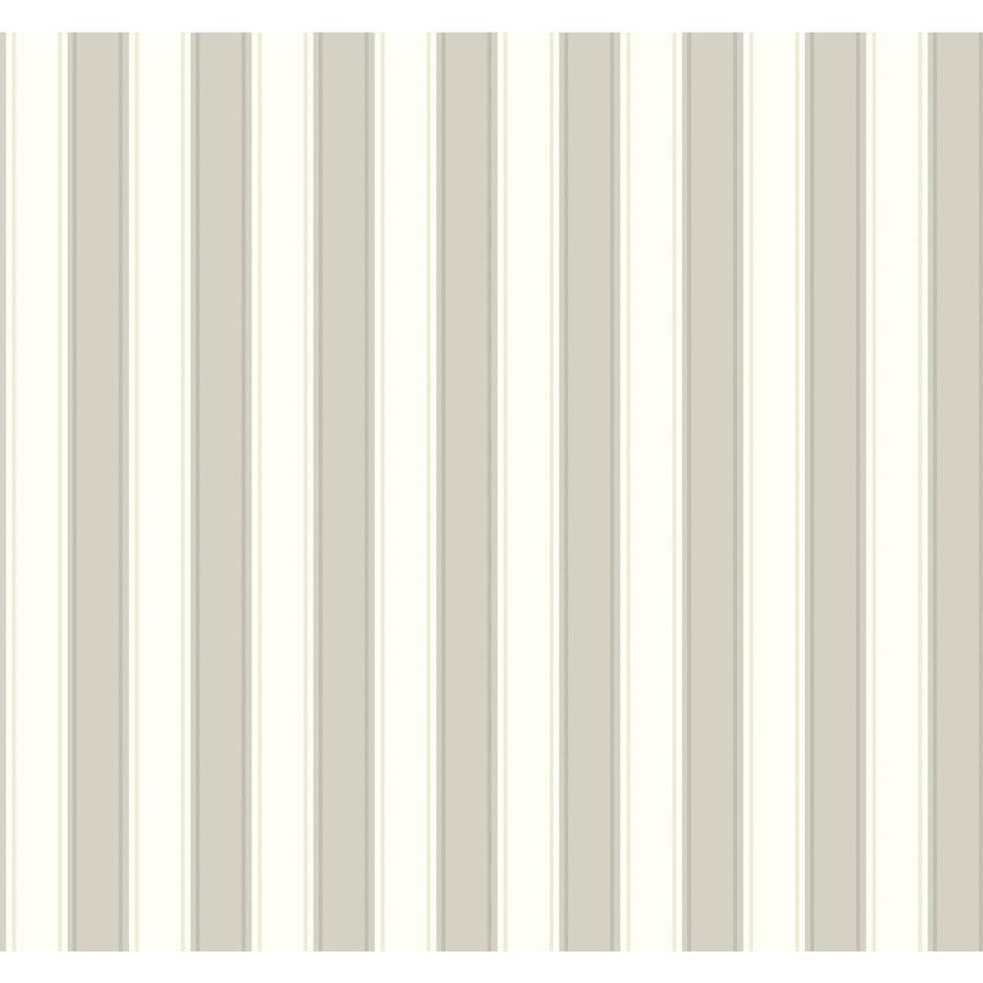 York Wallcoverings Ashford Stripes Gray, Cream Paper Stripes Wallpaper
