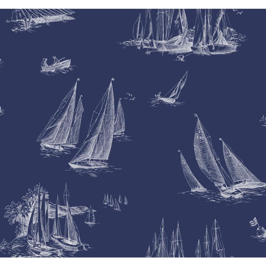 Inspired By Color Blue Book Navy and White Paper Toile Wallpaper