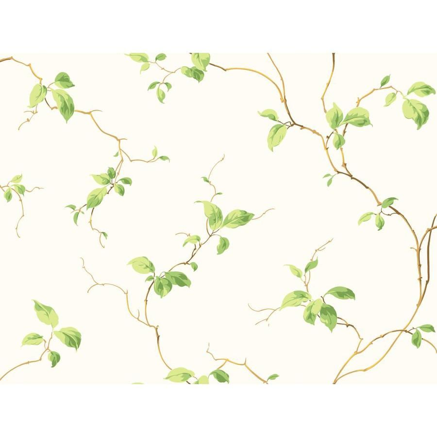 Inspired By Color Cream, Brown and Green Paper Ivy/Vines Wallpaper