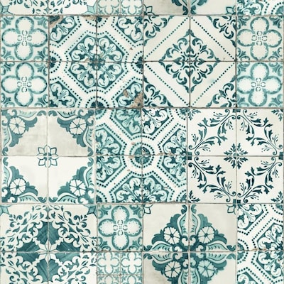 York Wallcoverings Outdoors In 56 Sq Ft Teal Paper Tile Soak