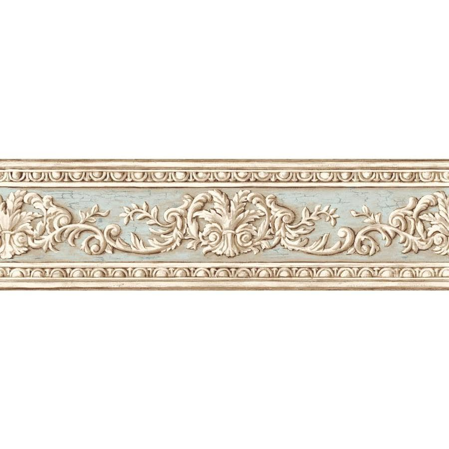 Inspired By Color 6-in Blue and Tan Prepasted Wallpaper Border