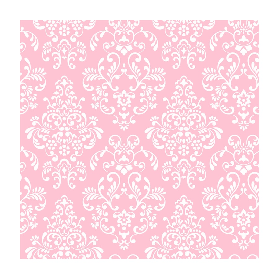 York Wallcoverings Peek A Boo Pink Paper Damask Wallpaper