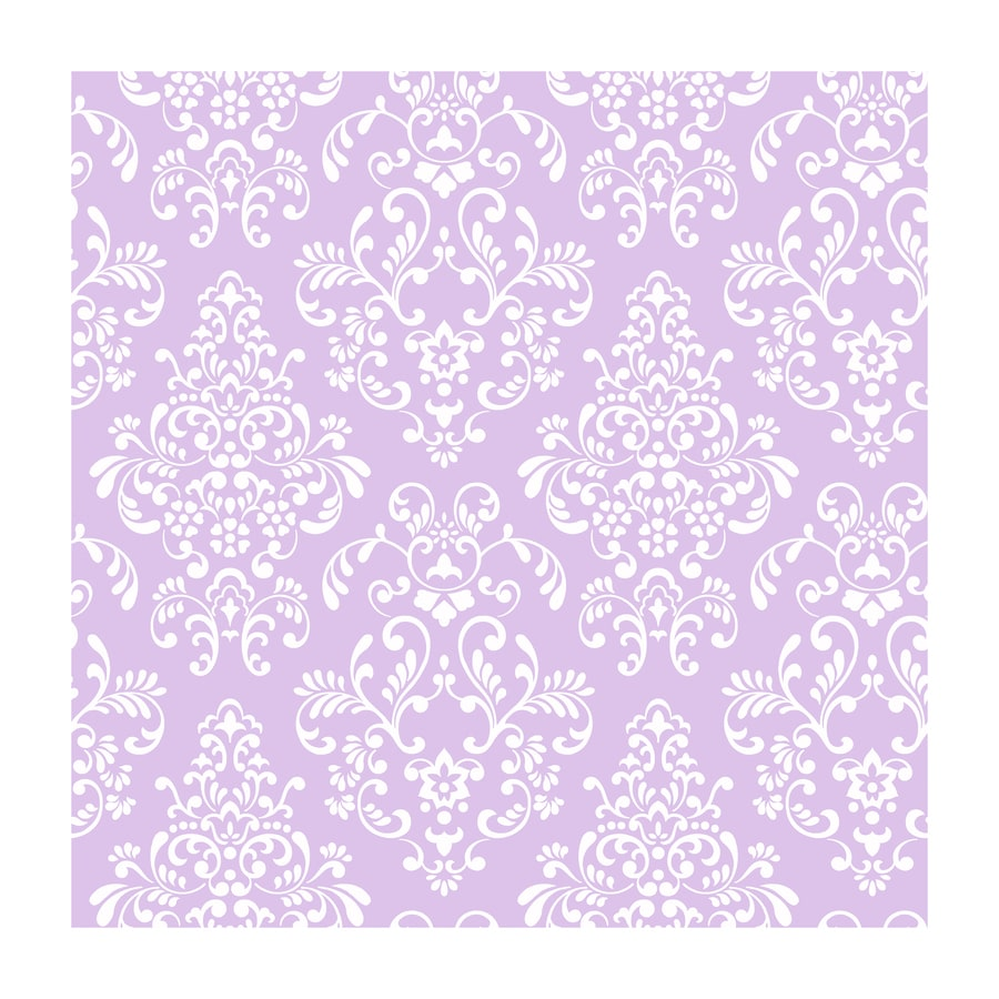 York Wallcoverings Peek-A-Boo Purple Paper Damask Wallpaper
