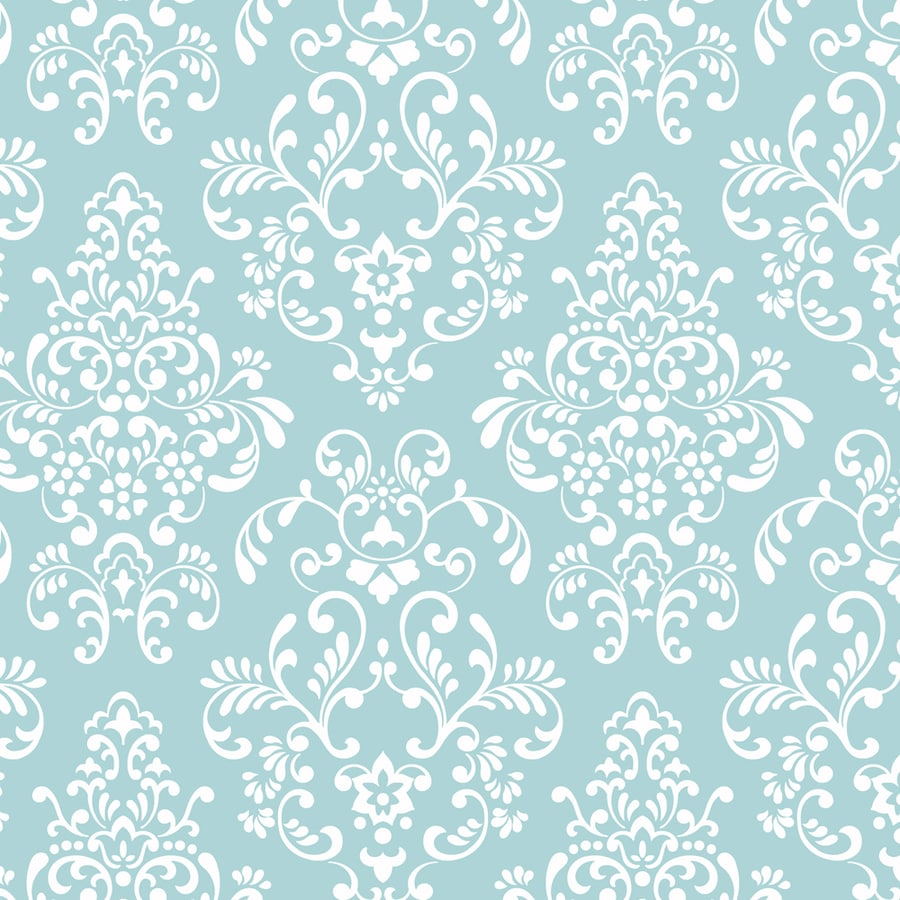York Wallcoverings Peek-A-Boo Blue Paper Damask Wallpaper