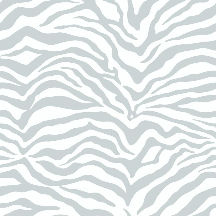York Wallcoverings Natural Elements Gray, White, Zebra Paper Stripes Wallpaper