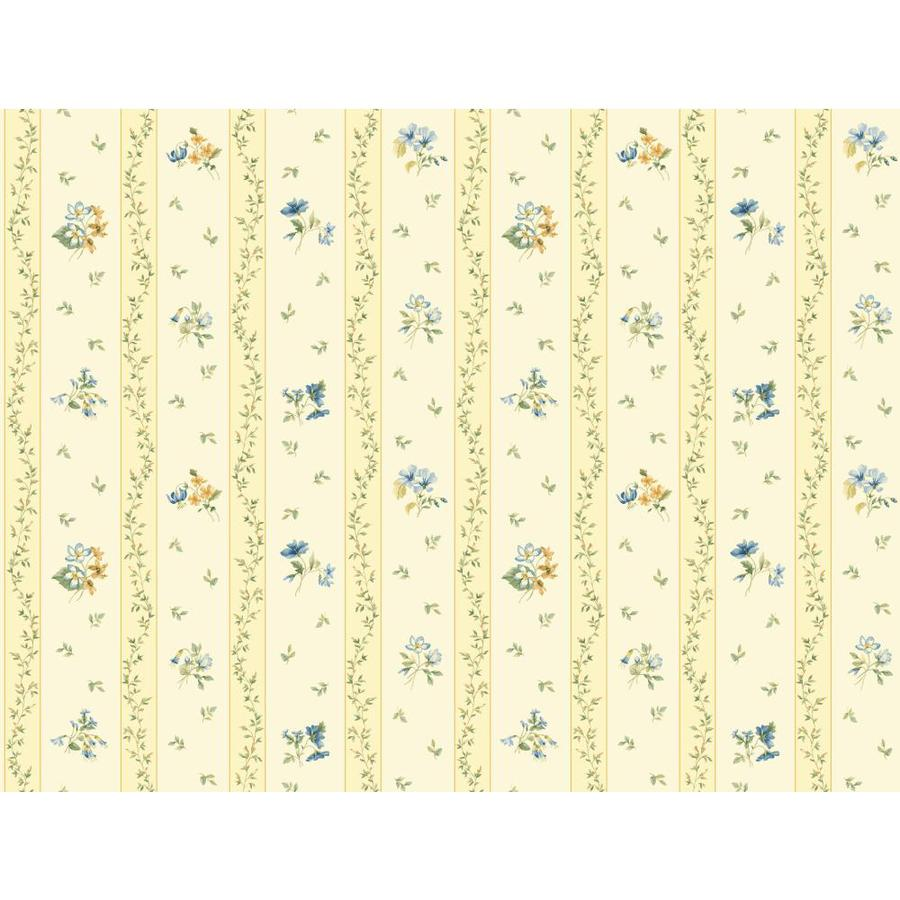 Inspired By Color Orange and Yellow Book Yellow and Blue Paper Floral Stripe Wallpaper