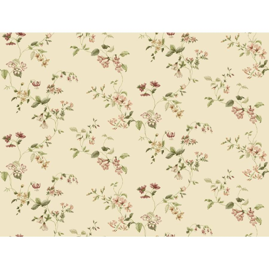 York Wallcoverings Beige Book Almond Paper Textured Floral Wallpaper