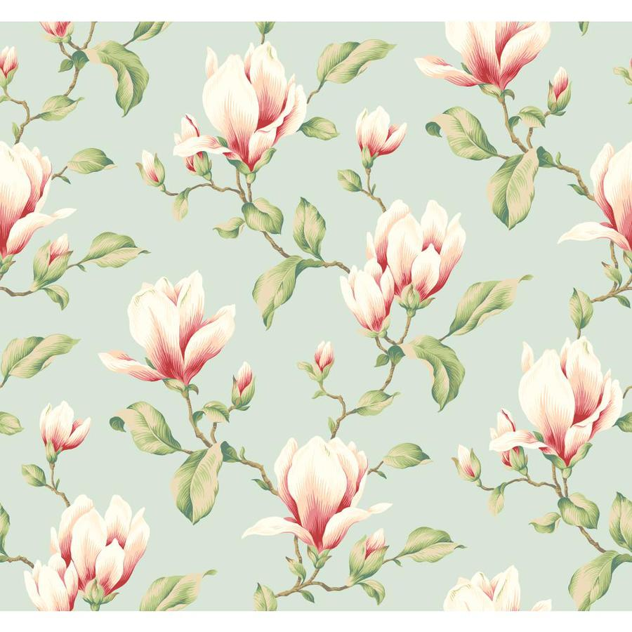 Inspired By Color Blue Book Aqua and Pink Paper Textured Floral Wallpaper