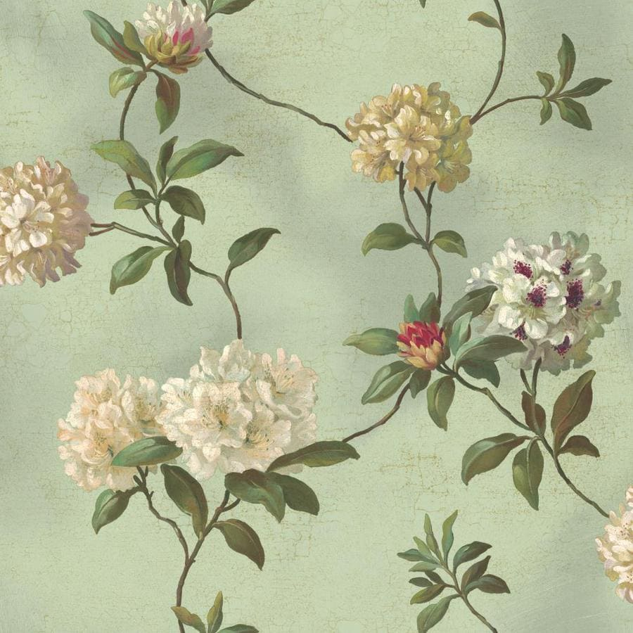 Inspired By Color Green Book Green, Beige and White Paper Floral Wallpaper