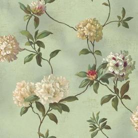 York Wallcoverings HA1289 Blue Green Book Rhododendron/Script Wallpaper