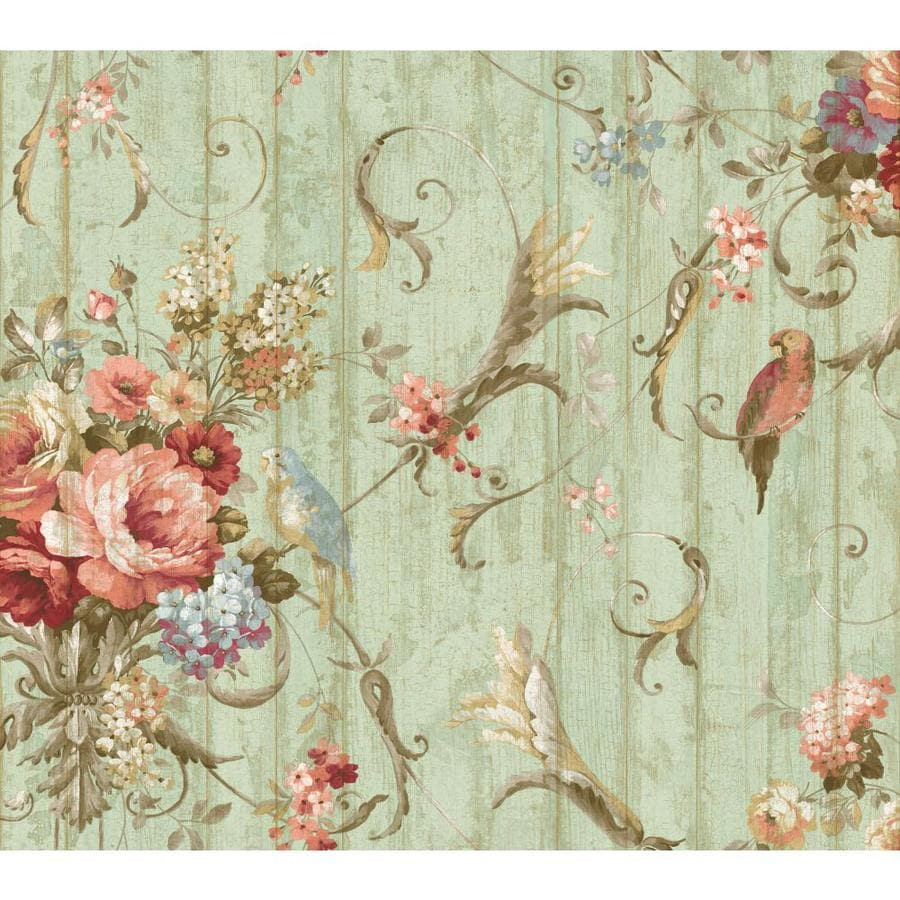 Inspired By Color Blue Book Blue, Brown and Tan Paper Floral Wallpaper