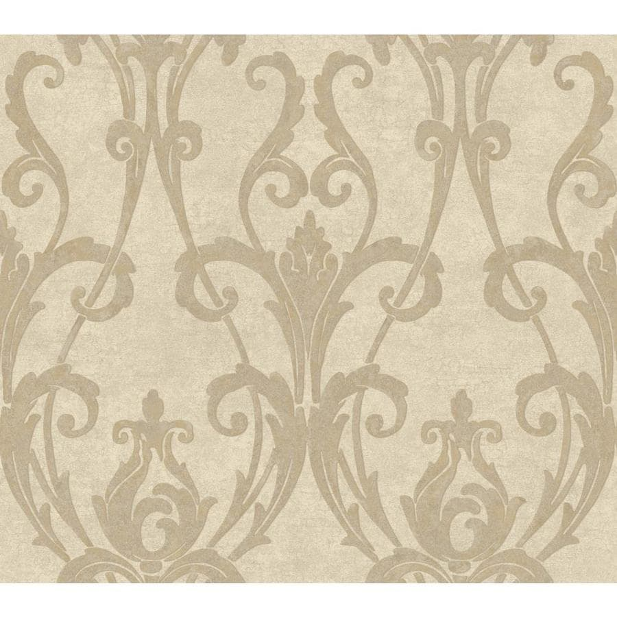York Wallcoverings Beige Book Beige Paper Textured Damask Wallpaper
