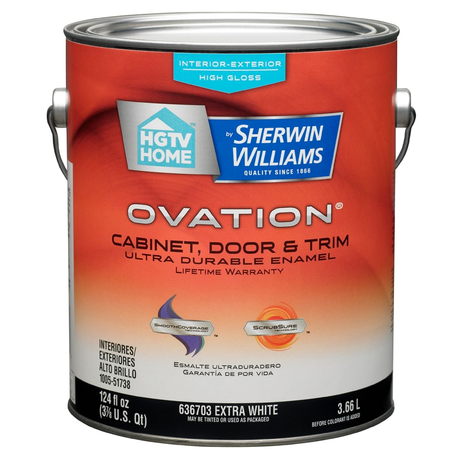 Shop hgtv home by sherwin williams ovation white high gloss latex interior exterior paint and - Exterior white gloss paint image ...
