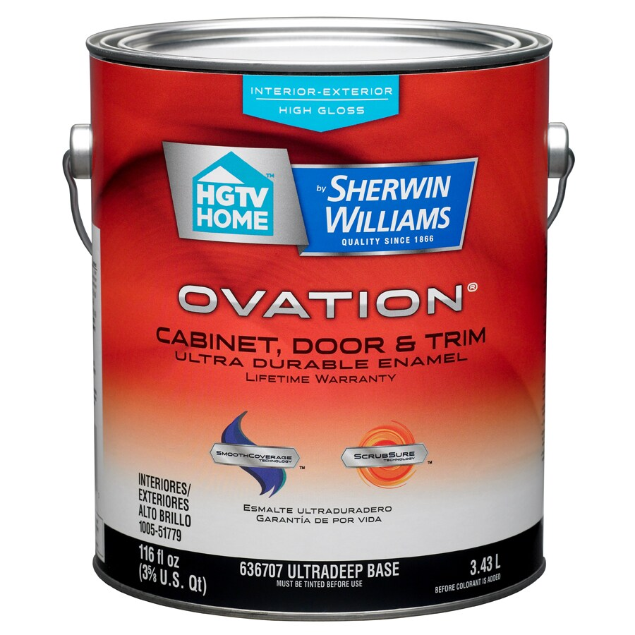 HGTV HOME by Sherwin-Williams Ovation Tintable High-Gloss Latex Interior/Exterior Paint and Primer in One (Actual Net Contents: 116-fl oz)