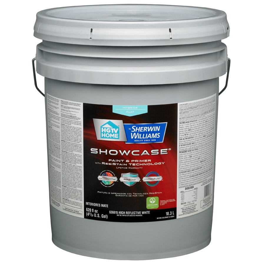 HGTV HOME by Sherwin-Williams Showcase White Flat Latex Interior Paint and Primer in One (Actual Net Contents: 620-fl oz)