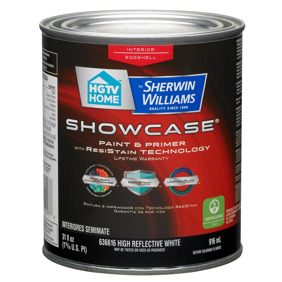 HGTV HOME by Sherwin-Williams Showcase White Eggshell Latex Interior Paint and Primer in One (Actual Net Contents: 31-fl oz)