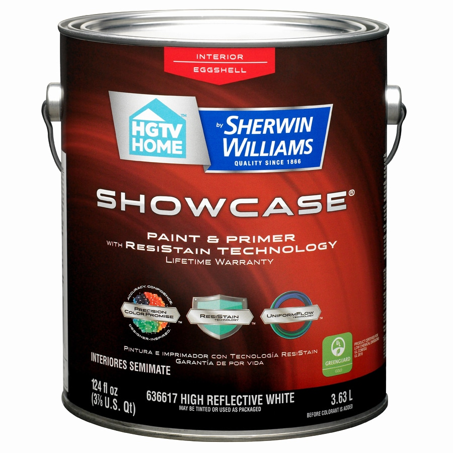 HGTV HOME by Sherwin-Williams Showcase White Eggshell Latex Interior Paint and Primer in One (Actual Net Contents: 124-fl oz)
