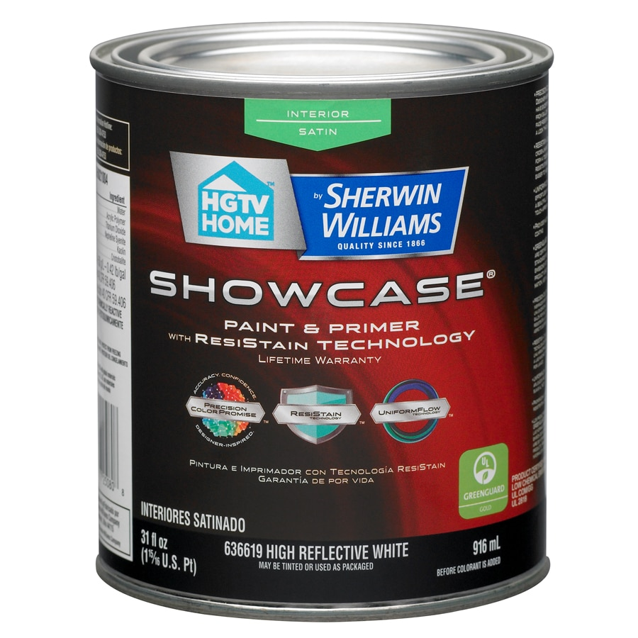 HGTV HOME by Sherwin-Williams Showcase White Satin Latex Interior Paint and Primer in One (Actual Net Contents: 31-fl oz)