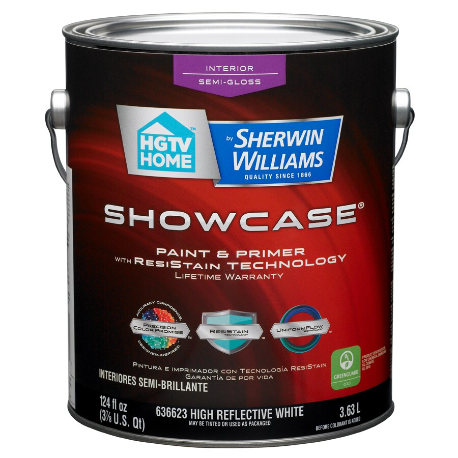 HGTV HOME by Sherwin-Williams Showcase White Semi-Gloss Latex Interior Paint and Primer in One (Actual Net Contents: 124-fl oz)