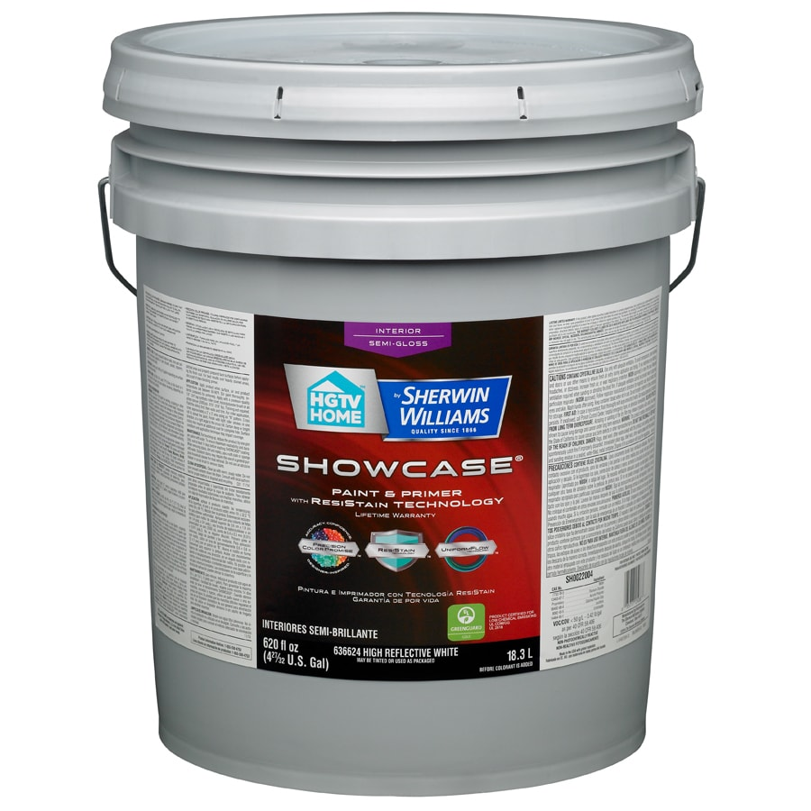 HGTV HOME by Sherwin-Williams Showcase White Semi-Gloss Latex Interior Paint and Primer in One (Actual Net Contents: 620-fl oz)