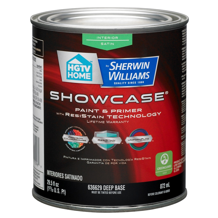 HGTV HOME by Sherwin-Williams Showcase Tintable Satin Latex Interior Paint and Primer in One (Actual Net Contents: 29.5-fl oz)