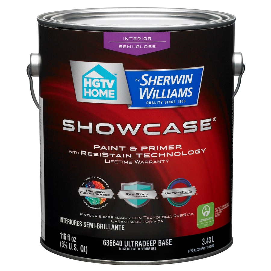 HGTV HOME by Sherwin-Williams Showcase Tintable Semi-Gloss Latex Interior Paint and Primer in One (Actual Net Contents: 116-fl oz)