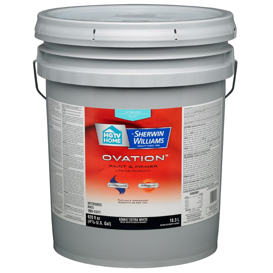 HGTV HOME by Sherwin-Williams Ovation White Flat Latex Interior Paint and Primer in One (Actual Net Contents: 620-fl oz)